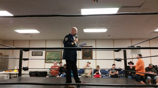 WWF Veteran and SPW Ring Announcer Sgt. Muldoon.  Image: The Professor